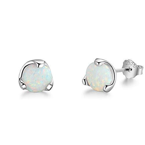 YAZILIND S925 plata esterlina ronda pendientes Opal Stud mujeres niñas San Valentín joyas regalo