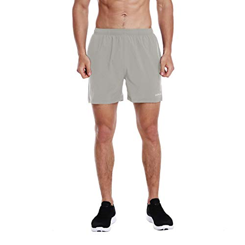 EZRUN Men's 5 Inches Running Workout Shorts Quick Dry Lightweight Athletic Shorts with Liner Zipper Pockets,LightGrey,M