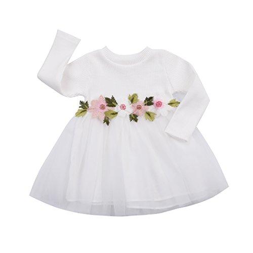 YQYJA Kleinkind Baby Mädchen Strickkleid Langarm Blumen Tüll Kleid Casual Tutu Kleider Frühling Herbst Kleidung (Weiß, 2-3 Jahre)