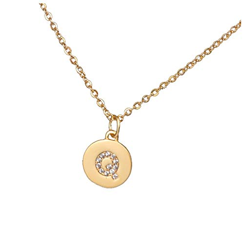 ZSBAYU Micro Zircon Inlaid 26 Letters Necklace Filled Handmade Dainty Personalized Gift for Women Kids Child Necklace Jewelry