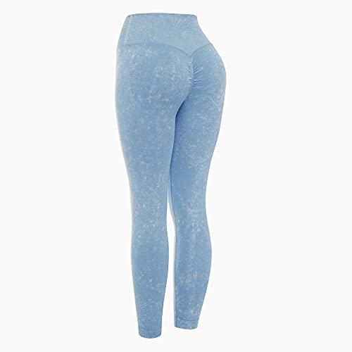 Yoga de Cintura Alta Elegante con Gimnasio,Pantalones de Yoga de Lavado con Agua Retro, Pantalones de Fitness Pantalones de Ejercicio elásticos-Lake Blue_L,Paneles para Mujer Pantalón de Yoga Mujer