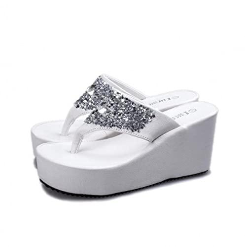 ypyrhh Sandalia Tipo Masaje,Diamantes DE Agua,Hull,Zapatillas de Fondo Gruesas Muffin-Blanco_35,Zapatillas de Estar por Casa de Mujer/Hombre