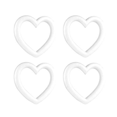 NUOBESTY 4 Pezzi polistirolo espanso polistirolo espanso Cuore Ghirlanda Forme Sfere in Schiuma Artigianale Ornamenti Natalizi Fai da Te (Bianco)
