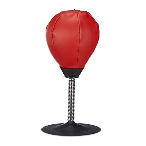 Relaxdays 10022328 Punching Ball da Tavolo Pera Boxe Scrivania Punch Ball Ufficio Antistress HxLxP: 35 x 18 x 18 cm Rosso-Nero