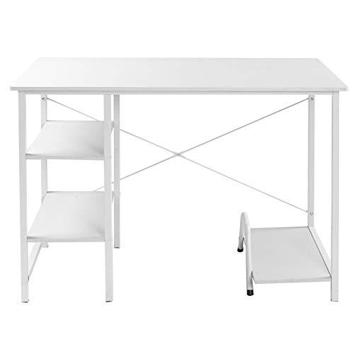 Les-Theresa Escritorio Moderno para computadora Mesa de Estudio Escritorio de Oficina con 2 estantes para Oficina en casa(Blanco)