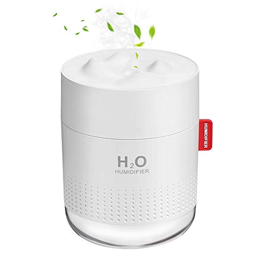 Mini ultrasone luchtbevochtiger Achort 500 ml USB fluisterstille humidifiers 12-18 uur continu gebruik luchtbevochtiger diffuser met LED-licht auto uit voor kinderkamer slaapkamer kantoor auto (wit)