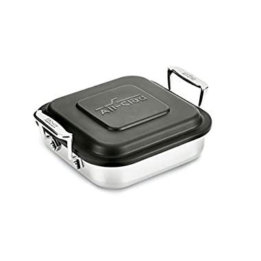 All-Clad E9019464 Gourmet Accessories Stainless Steel Square Baker w/lid cookware, 8-Inch, Silver