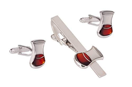 GS CUFFLINKS Juego Gemelos Cristal Whisky Clip Corbata