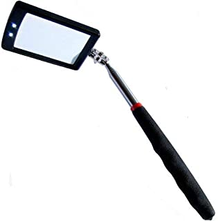 espejo telesc/ópico LED herramienta de inspecci/ón de coche con 2 luces LED brillantes mango de coj/ín suave y antideslizante expandible Espejo telesc/ópico de inspecci/ón