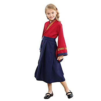 Kids Traditional Hanfu Dress Little Girls Ancient Chinese Princess Costume Han Dynasty Halloween Fancy Dress  Red×Navy 130cm