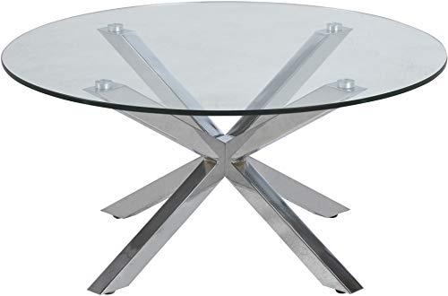 24Designs Salontafel Beau - Diameter 82 X H40 Cm - Glazen Tafelblad - Chromen Onderstel