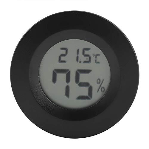 Mini Thermometer Runde Form Temperatur Digital LCD Monitor Innenraum Runde Luftfeuchtigkeit Temperaturanzeige für Humidore Hause Gewächshaus Babyroom Reptile Inkubator (Black)