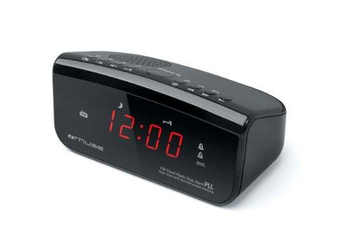 Muse M-12 CR Radiowecker (PLL-Tuner, 2 Weckzeiten, 1,5 cm (0,6 Zoll) LED-Display) schwarz