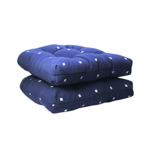 Fabritones Outdoor Chair Cushion 2 Packs 16x17 Inch Indoor Decorative Navy Chair Pads for Office Patio Chair Comfortable Polka Dot Pattern Seat Cushions with Ties