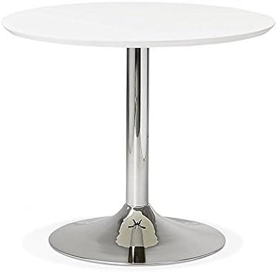 Untergestell Metall wei/ß Durchmesser: 110 cm matt H/öhe: 74.5 cm MDF lackiert verchromt Tenzo 3220-001 Tequila Designer Esstisch