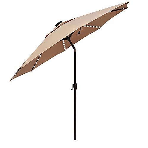SHANJ 2,7 m Sombrilla de Patio con Energía Solar,Parasol de Jardín con luz LED con Inclinación y Manivela,Sombrilla de Mesa al Aire Libre,Sombrilla de Mercado,8 Costillas,Azul,Beige