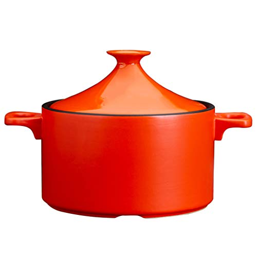 FCSFSF Sauce Beilage,Marokkanischen Tajine Kochtopf,Dampfer Bra Braise Pan,Handgefertigt Keramik Cocotte,4L Tajine Keramik Topf,Gesund Clay Pot Zum Braising Langsames Kochen A Rot 4l