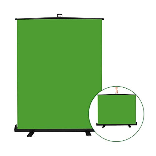 Emart Green Screen, Collapsible Chromakey Panel for Photo Backdrop Video Studio,Portable Pull Up Wrinkle-Resistant Greenscreen Background, Auto-Locking Air Cushion Frame, Solid Safety Aluminium Base