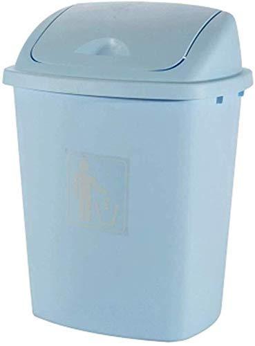 HJYSQX Cubo de basura grande de 30 l para el hogar, cocina grande, con tapa, tapa de gran capacidad, para batidos, basura, cubierta al aire libre (color: 30 lh con cubierta azul claro)