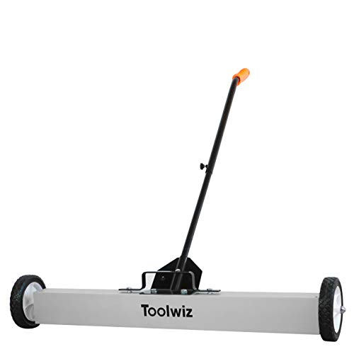 Heavy Duty Magnetic Sweeper with Wheels, Rolling Magnetic Floor Sweeper with Release Handle 36 Inches