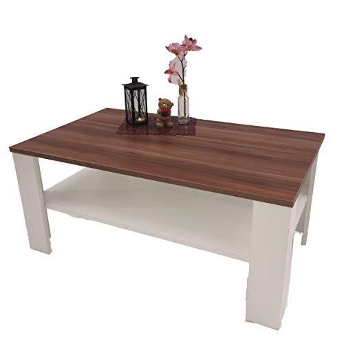 Möbel SD Couchtisch Wohnzimmertisch Kaffeetisch (Bea) Nussbaum/weiß