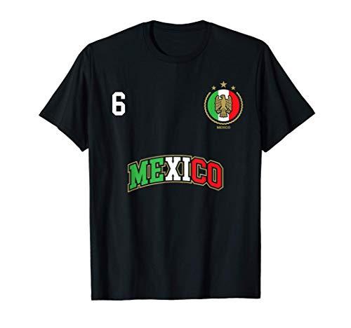 Equipo Deportivo Fútbol México No 6 Bandera mexicano Camiseta