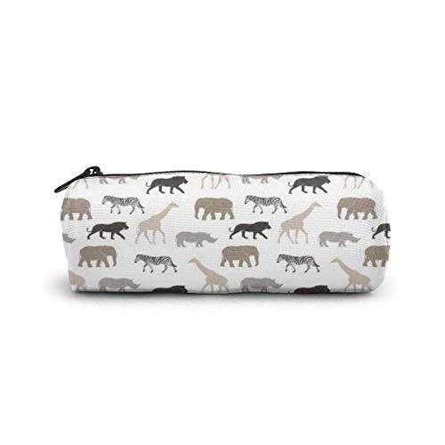 Estuche para lápices Animales de Safari Neutrales Elefante Jirafa Rinoceronte Bolígrafo Estuche para papelería Estuche para maquillaje cosmético Neceser para artículos de tocador Estuche para cosmétic