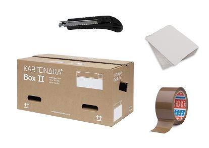 Umzugskomplettpaket Studierende | 15 Stück Umzugskartons KARTONARA Box II + Packseide + Packband + Cuttermesser