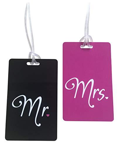 Honeymoon Kofferanhänger Mr & Mrs - Gepäckanhänger Hochzeitsreise - Koffer Tags Hochzeitsgeschenk Hochzeitsdeko - Geschenk Trauzeugin, Junggesellenabschied, Bachelor Party- 2 Stk.(Set) - Schwarz/Pink