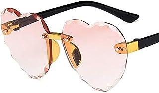WDFDZSW - WDFDZSW Niño Lindo del Marco del corazón sin Montura de Las Gafas de Sol for niños Los niños de Rosa Gris Lente roja Moda Niño Niña protección UV400 Eyewear (Lenses Color : C4 Pink)