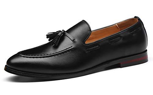 Santimon Mens Fashion Loafers Leather Casual Tassel Slip on Driving Flats Dress Shoes Black 8.5 D(M) US