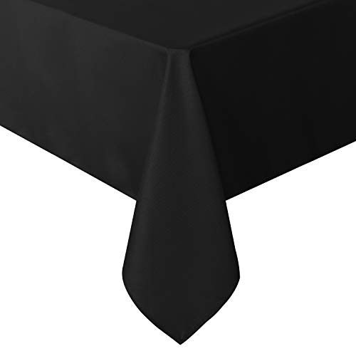 sancua Rectangle Tablecloth – 60 x 84 Inch – Stain and Wrinkle Resistant Washable Polyester Table Cloth, Decorative Fabric Table Cover for Dining Table, Buffet Parties and Camping, Black