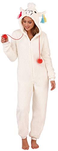 Loungeable Damen Macaroon Overall oder Morgenmantel Damen Luxus Nachtwäsche - Creme Lama, Medium (UK 12-14)