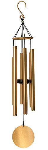 OSVINO Klangspiele Windspiele Deko mit Klang Aluminium groß Gesamtlänge 75cm für draußen Balkon Garten, Rosagold
