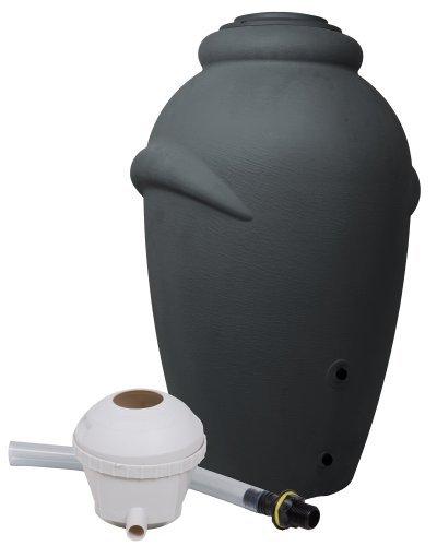 Ondis24 Regenwassertonne Amphore Wasserbehälter Anthrazit 360 Liter inklusive Füllautomat