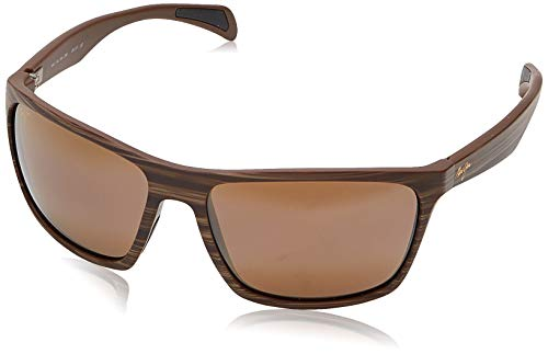 Maui Jim Men's's Makoa w/ Patented PolarizedPlus2 Lenses Polarized Wrap Sunglasses, Matte Brown Wood Grain/Hcl Bronze Polarized, Large