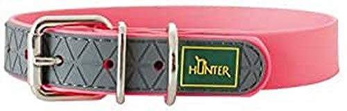 HUNTER Convenience Hundehalsband, Kunststoffgemisch, wasserfest, schmutzabweisend, pflegeleicht, Neonpink, 40