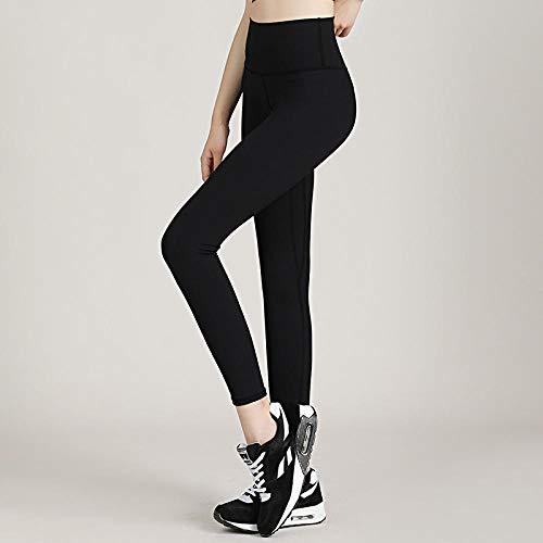 B/H Pantalon Bouffant pour Sport Jogging Danse,Pantalon de Fitness de Course Taille Haute pour Femme, Pantalon de Hanche élastique serré-Noir_S