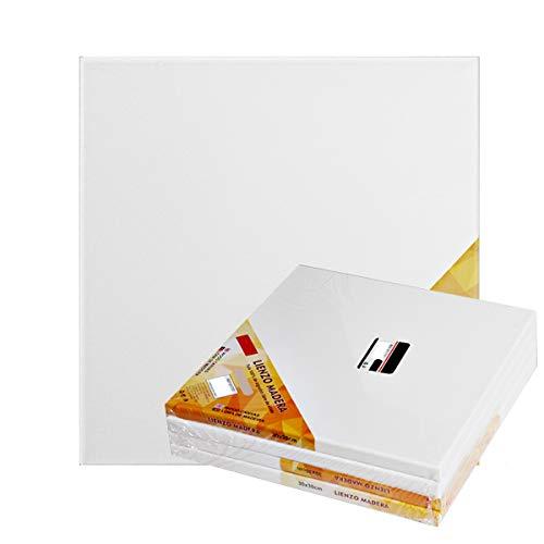 Pack de 4 lienzos 40 x 40 cm de 100% algodón apto para óleo, acrílico y mixto, pre-estirado, color BLANCO. Libre de ácido.