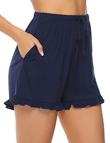 Aibrou Shorts Femme Coton -100% Coton Pyjama Shorty Été Coton Rayé Pyjama Pantalon Décontracté pour Femme, Blue 1, L