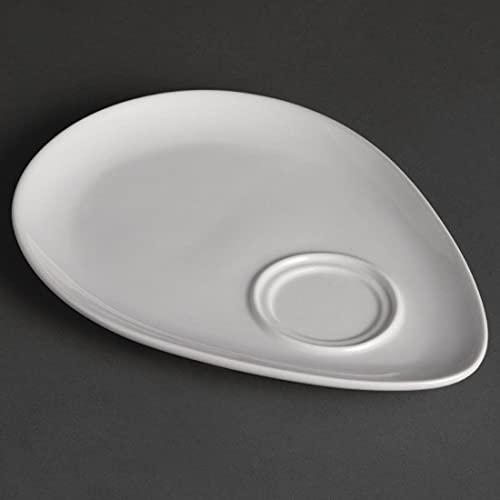 Olympia Whiteware Assiettes Snack en Porcelaine Blanche 240mm - Résistant à Chaleur et Chocs - Va au Lave Vaisselle & Congélateur - Paquet de 12