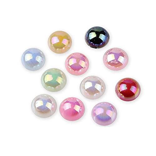 Brillante colorido AB media perla redonda imitación ABS perla de espalda plana para decoración de uñas accesorio de joyería 2 mm 3 mm 4 mm 5 mm 6 mm 8 mm 10 mm-MIX COLOR AB, 8 mm 100 piezas
