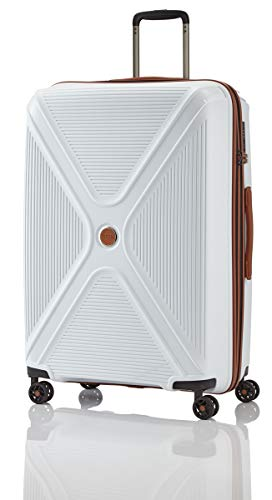 Titan Paradoxx Gr. L inkl. kleine Kulturtasche Großer Reisekoffer 4 Doppelrollen Trolley Hartschale Gr. L (77 x 51 x 31 cm) (Weiss)