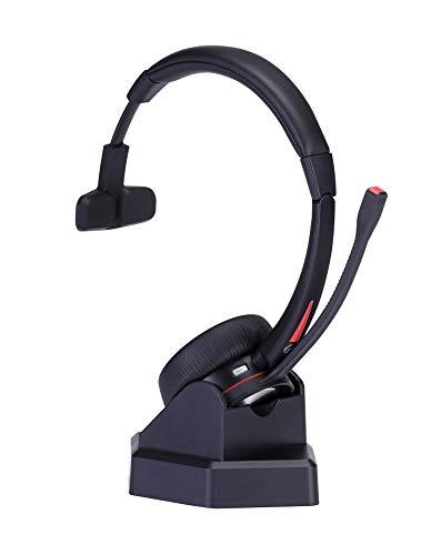 Bluetooth Headset mit Mikrofon, V5.0 Mono Wireless Headset für PC Laptop Handy, Over-Ear Kabellos Kopfhörer mit Rauschunterdrückung, für Homeoffice LKW-Fahrer Smartphone Phone Skype Chat Call Center