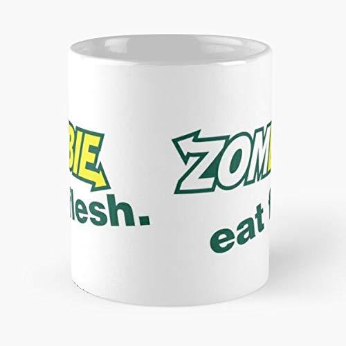 Cool Retro Funny Zombie Parody Flesh Subway Eat I FSGprinty-New and trendy design for White marble ceramic coffee mug