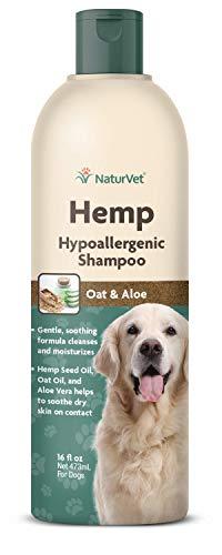 NaturVet – Hemp Hypoallergenic Shampoo - Plus Oat Oil & Aloe Vera – 16 oz – Gently Cleanses & Moisturizes Sensitive Skin – Enhanced with Hemp Seed Oil, Oat Oil, & Aloe Vera