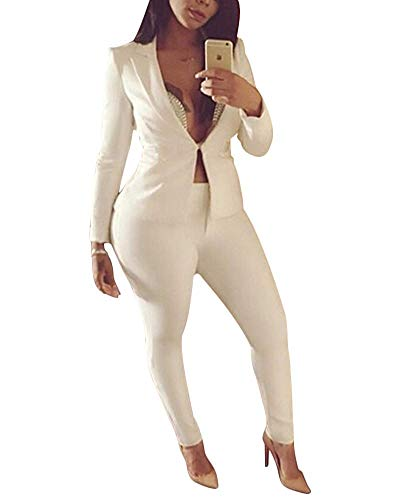 2-teiliges Outfit für Damen, langärmlig, einfarbig, Blazer mit Hose, leger, eleganter Business-Anzug Gr. S, weiß