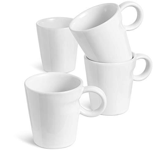 LE TAUCI 5 Ounce Espresso Cups, Designed for Nespresso Lungo, Cappuccino, Tea, Ceramic Stackable Coffee Cup Perfect for Espresso Machine and Coffee Maker, Set of 4, White