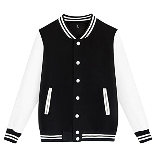Men's Color Block Varsity Baseball Jacket Classic Relaxed Fit Cotton