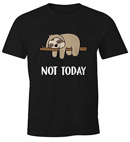 MoonWorks Not Today Chillen - Camiseta divertida para hombre Not Today Faultier - Reloj de pulsera, color negro L